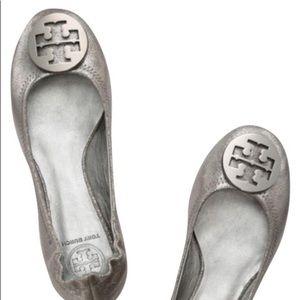 Tory Burch Silver Reva Flats